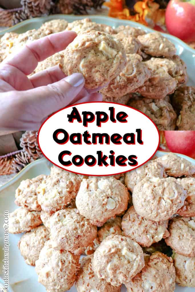 A vertical photo collage for Apple Oatmeal Cookies with a title text overlay graphic in the center.
