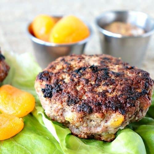 Savory Pork Burgers with Dried Apricots & Grainy Mustard - kudoskitchenbyrenee.com