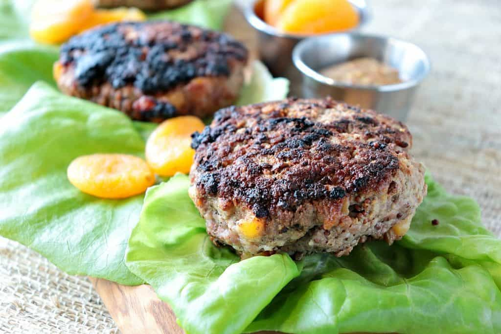 Juicy Pork Burgers with Dried Apricots & Grainy Mustard - kudoskitchenbyrenee.com
