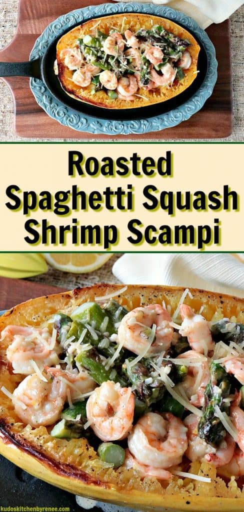 Late summer through mid-autumn is (in my opinion) when spaghetti squash is at their finest. If you've never cooked spaghetti squash before because you find them intimidating and a little daunting, I hope I can take away some of those fears for you today with this delicious and easy recipe for Roasted Spaghetti Squash Shrimp Scampi. - kudoskitchenbyrenee.com
