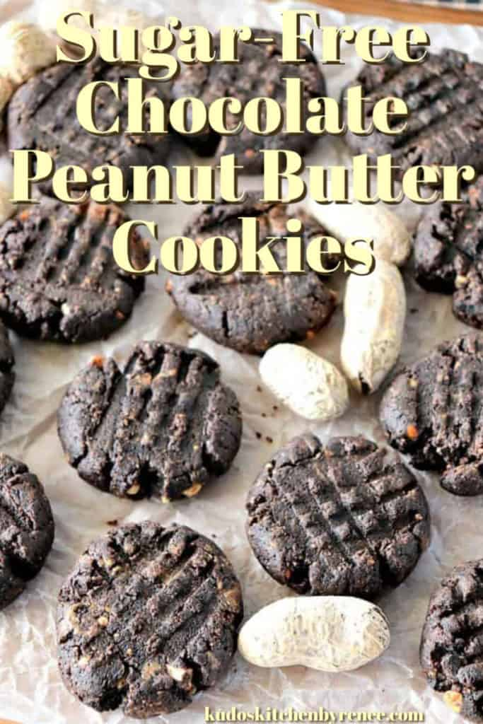 Closeup vertical title text image for low-carb chocolate peanut butter cookies.