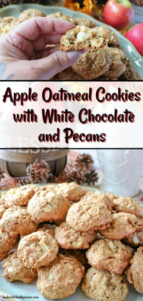 Everyone in my family loves when I make oatmeal cookies, and I love to experiment with my baking! Since it's (almost) autumn, I've been cooking and baking a lot with apples. Hence today's recipe for Apple Oatmeal Cookies with White Chocolate and Pecans. - kudoskitchenbyrenee.com