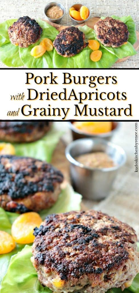 This low carb recipe for Juicy Pork Burgers with Dried Apricots & Grainy Mustard comes together in a snap and with only three ingredients! By all means, if you want to add a bun, go for it!! The flavors in this burger are exceptional, with or without the extra carbs. - kudoskitchenbyrenee.com