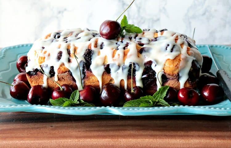 Cherry Yeast Bread with White Chocolate Ganache Drizzle - kudoskitchenbyrenee.com