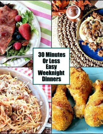 Photo collage of easy weeknight dinner recipes.