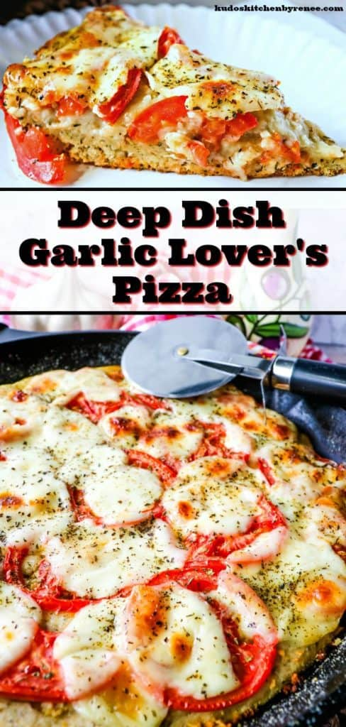 If you're a huge garlic lover (like we are), then you simply MUST try this Garlic Lovers Pizza! The crust is super simple to make and is the perfect thickness to hold at the garlicy, cheesy goodness this pizza posses! - kudoskitchenbyrenee.com