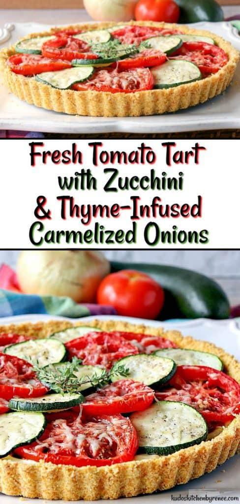 I'm not sure which part of this Fresh Tomato Tart I love the best! Is it the slices of garden fresh tomatoes and zucchini, the crunchy cornflake crust, or the layer of thyme-infused caramelized onions? - kudoskitchenbyrenee.com