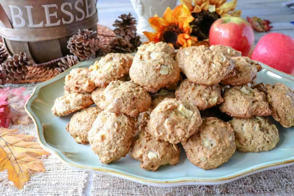 A tray piled high with apple oatmeal cookies.