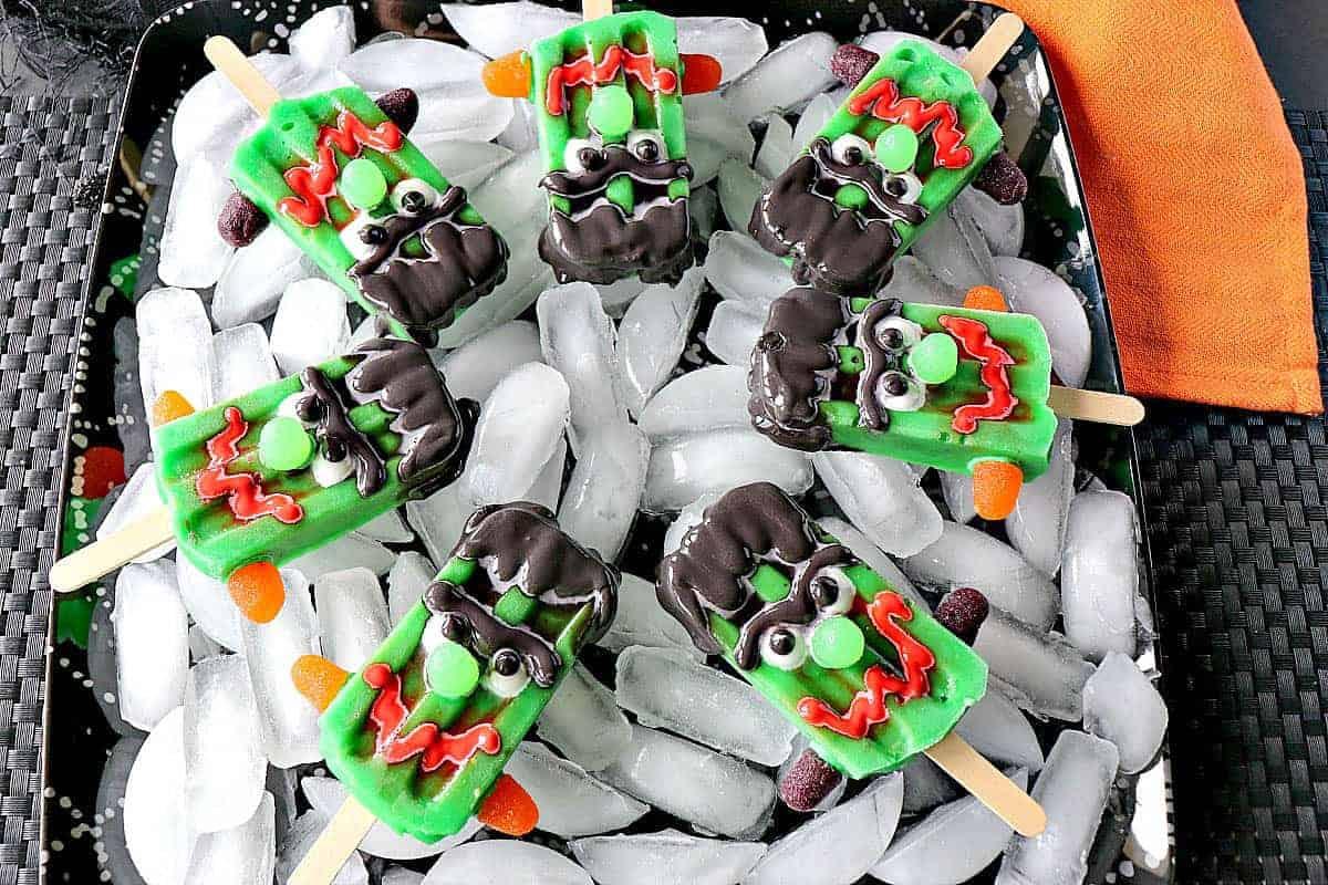 Frozen Frankenstein Pudding Pops - kudoskitchenbyrenee.com