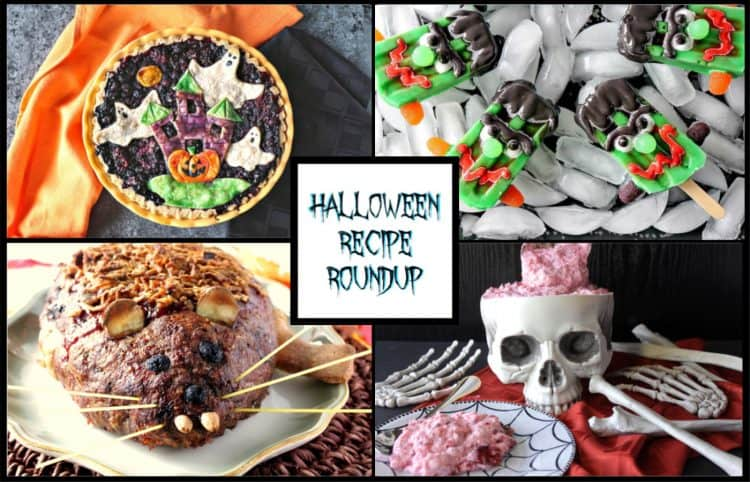 Collage of 4 Halloween food images with a title box in the center.
