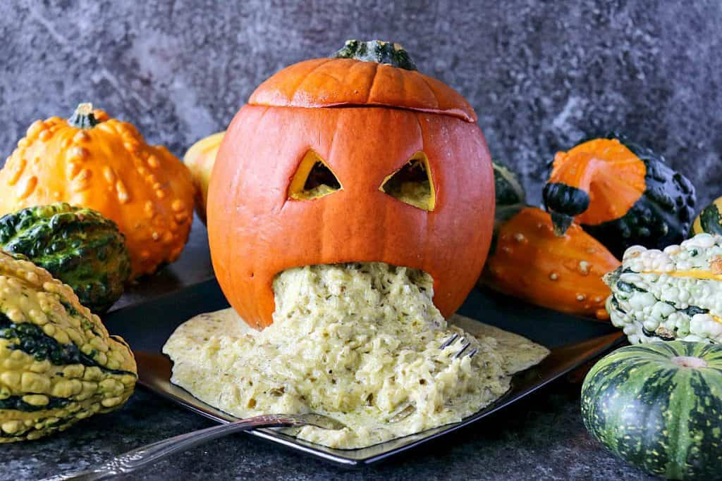 Freaky Good Pesto Spaghetti Squash Puking Pumpkin for Halloween - kudoskitchenbyrenee.com