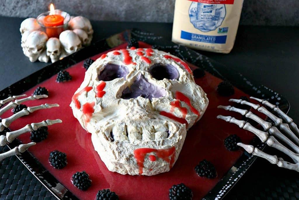 Ooey Gooey Spooky Swiss Meringue Skull - kudoskitchenbyrenee.com