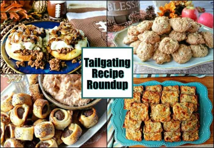 Title text collage image of tailgating recipe roundup