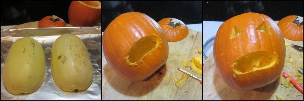How to make a puking pumpkin with basil pesto spaghetti squash for Halloween.
