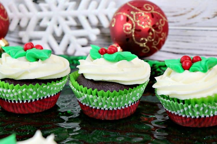Festive Holly Berry Chocolate Peppermint Cupcakes with Peppermint Buttercream Frosting - kudoskitchenbyrenee.com
