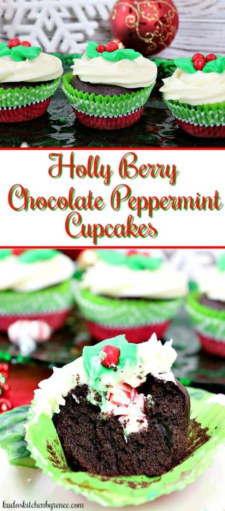 These festive and charming Holly Berry Chocolate Peppermint Cupcakes are sure to be a hit with your family and friends! - kudoskitchenbyrenee.com @kudoskitchen