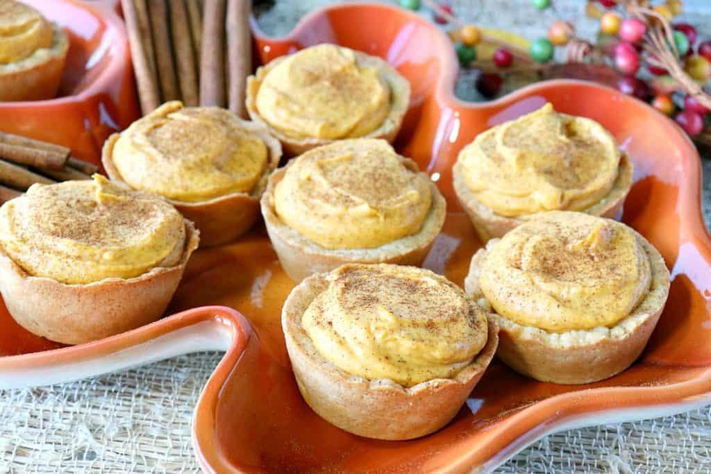 Pumpkin Cheesecake Tartlets with Cookie Crust - kudoskitchenbyrenee.com