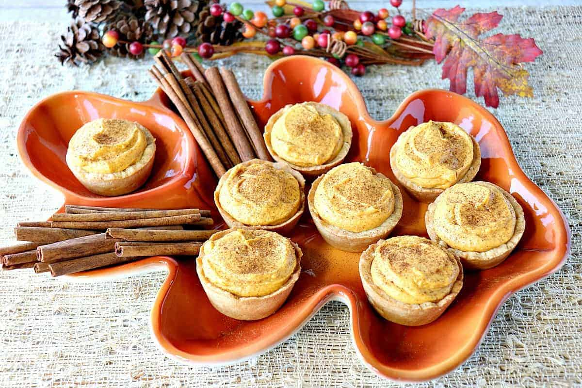 Pumpkin Cheesecake Tartlets with Cookie Crust