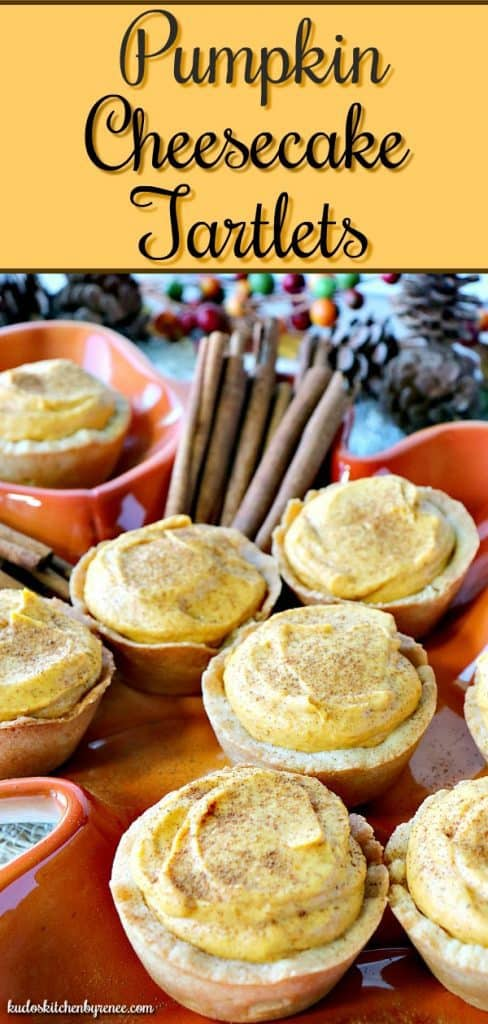 Looking for something a little out of the ordinary for a Thanksgiving dessert? These delicious Pumpkin Cheesecake Tartlets have your back! - kudoskitchenbyrenee.com