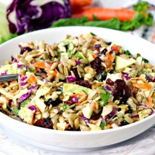 Sunflower Crunch Kale Cabbage Salad - kudoskitchenbyrnee.com @kudoskitchen