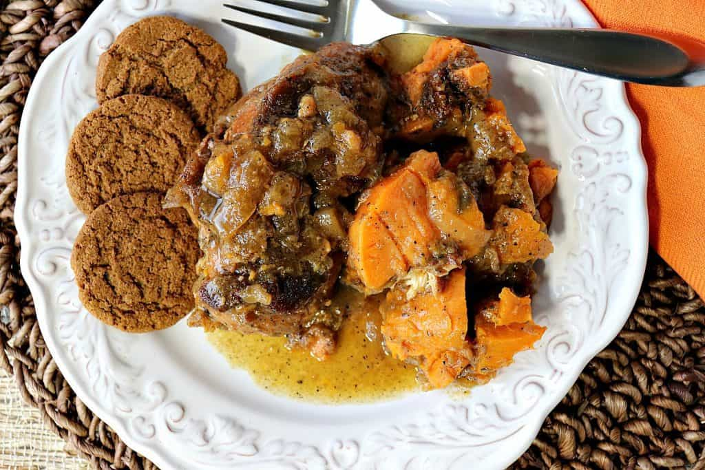 Apple Cider Braised Chicken Breasts with Sweet Potatoes & Gingersnaps - kudoskitchenbyrenee.com