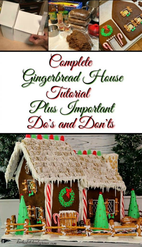 How to make a decorated gingerbread house with sugar cone pine trees, gumdrop roof, pretzel fence, and peanut chimney. - kudoskitchenbyrenee.com