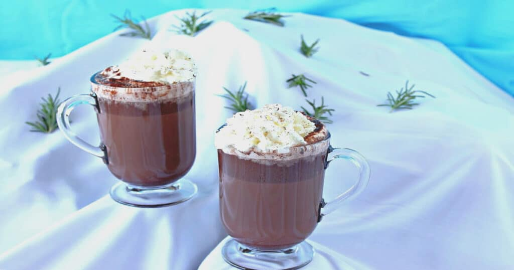 Two mugs of Vermont Hot Chocolate on a snow covered faux mountain with blue sky background.