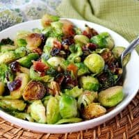 Sauteéd Brussels Sprouts with Sweet & Spicy Candied Bacon