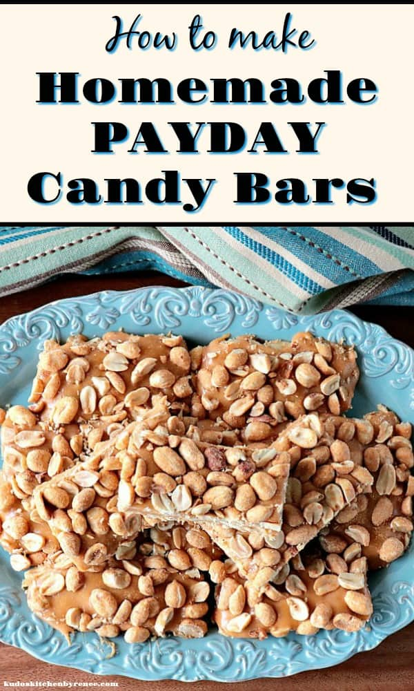 Vertical Title Text image of homemade payday candy bars on a blue plate.