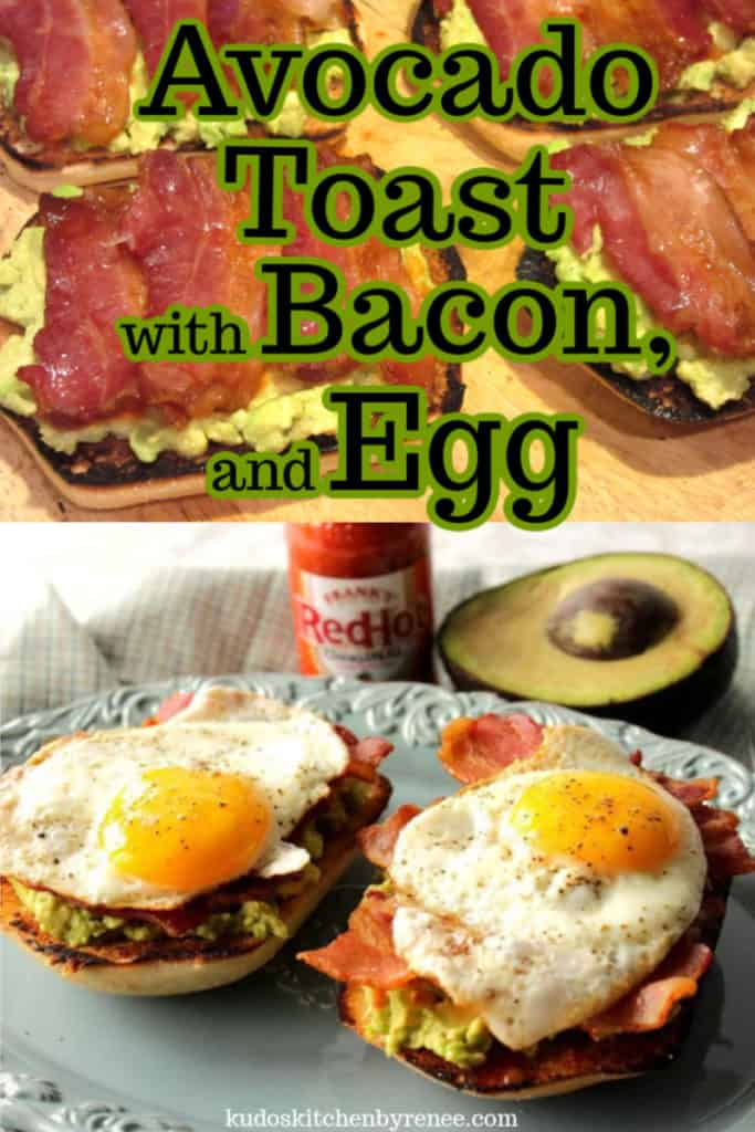 A vertical title text collage of how to make avocado toast with bacon and egg.