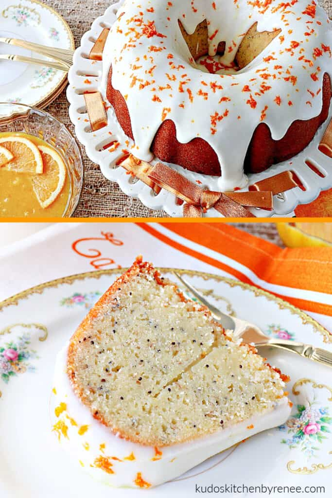 A vertical photo collage of two images of Orange Bundt Cake. One a whole cake and one is a slice on a plate with a fork.