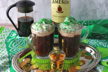 Two cups of Irish Coffee on a sliver platter