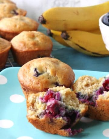 Two muffins on a blue polka dot plate.