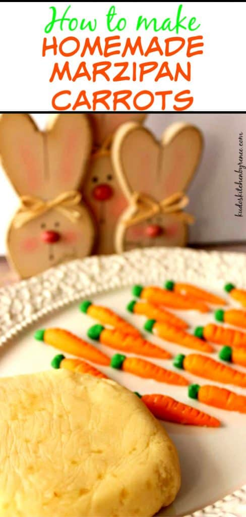 Title text image of marzipan candy on a plate with bunnies in the background