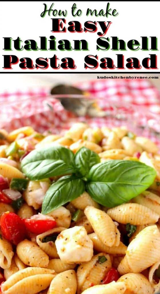 Closeup photo of shell pasta salad and fresh basil leaves with a title text overlay.