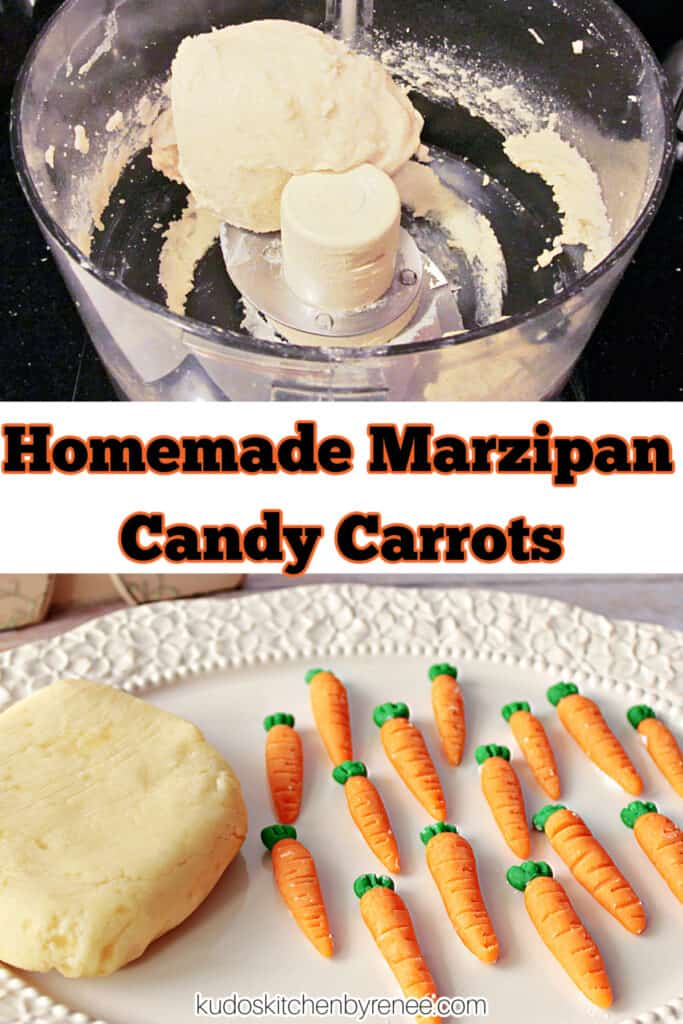 A vertical collage image of marzipan candy carrots and the almond paste in a food processor along with a title text overlay graphic.