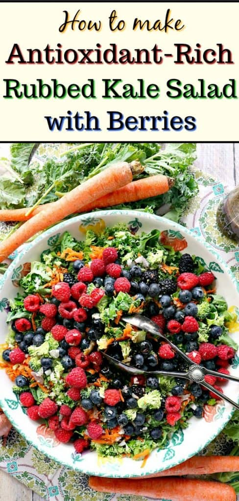 Title text image of an overhead photo of a colorful bowl of kale salad with berries.