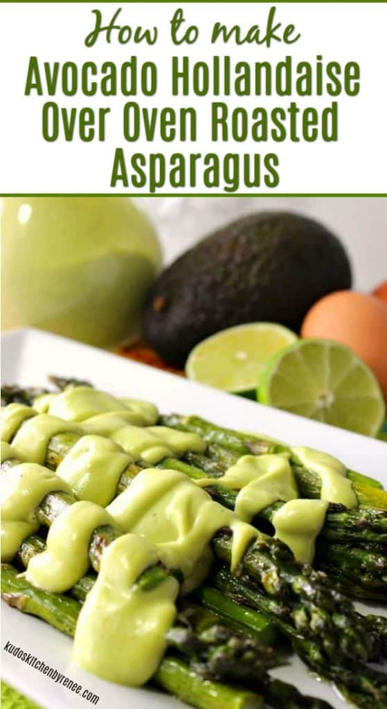 Vertical Title Text Image of Avocado Hollandaise Sauce Over Asparagus