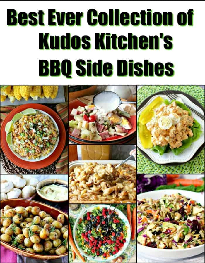 A title text collage image of 7 different BBQ side dishes