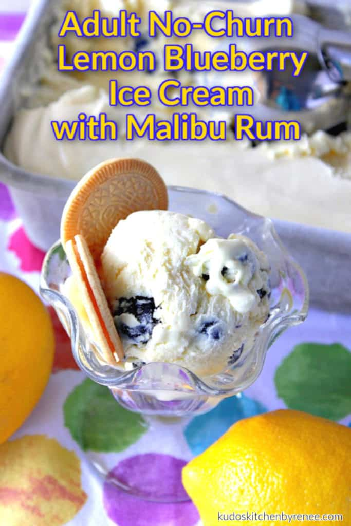 A glass dish of no-churn lemon blueberry ice cream with cookies and title text overlay graphic