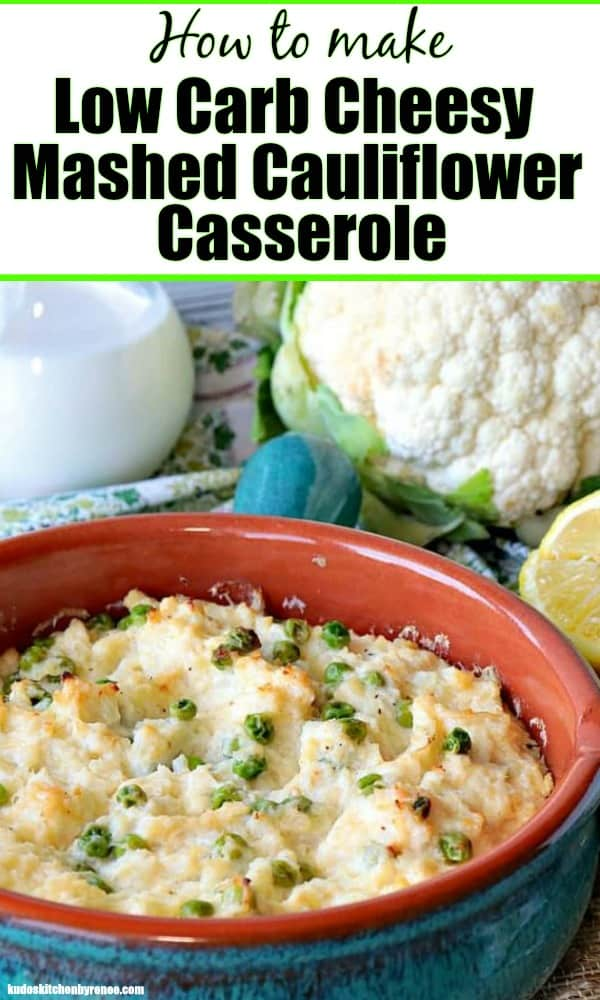 Vertical Title text image of mashed cauliflower casserole