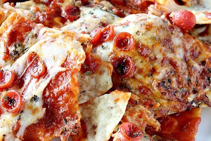 Closeup photo of pepperoni pizza nachos.