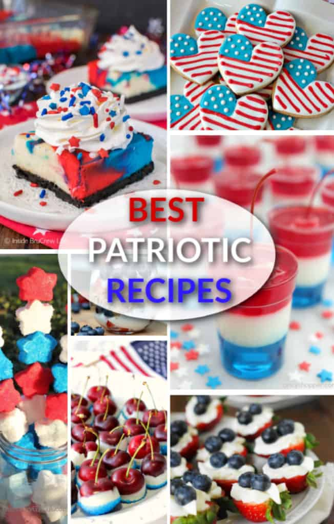 A photo collage of red, white, and blue recipe roundup with title text graphic overlay