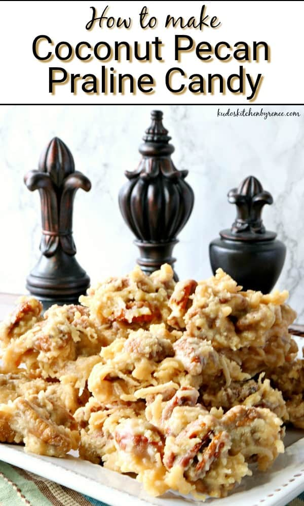 Coconut Pecan Praline Candy Title Text vertical image
