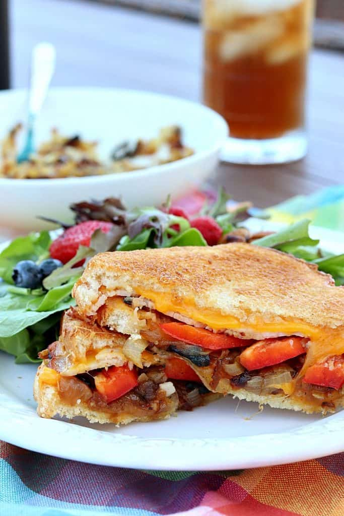 A vertical closeup photo of a grilled cheese sandwich with red pepper, and caramelized onion and salad on the plate.