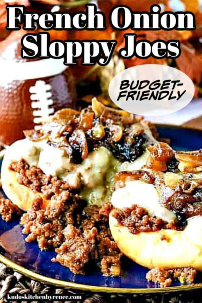 A vertical title text closeup image of an open face French onion sloppy joe sandwich with caramelized onions and melted Swiss cheese.