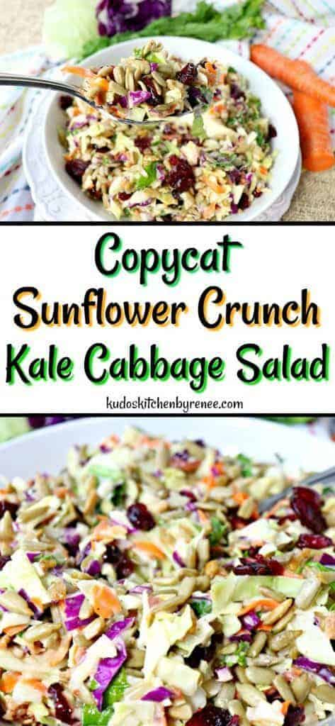 Collage image of sunflower crunch salad with colorful napkin and carrots in the background.