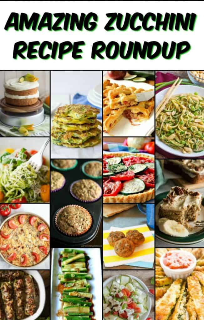 Amazing Zucchini Recipe Roundup title text collage images.