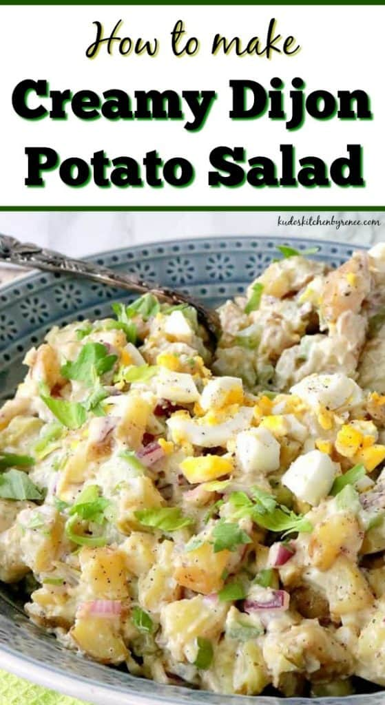 Vertical title text image of creamy Dijon potato salad with celery leaves, hard cooked eggs, Dijon, and red onion.