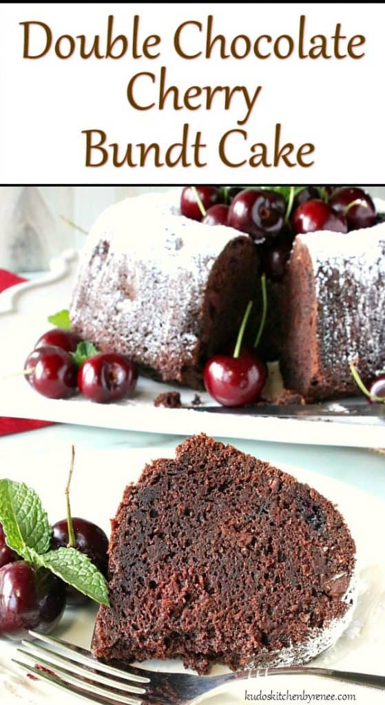 Vertical Title Text photo of chocolate cherry bundt cake.